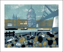 View of St Pauls from the Thames Foreshore Linocut by Melvyn Evans