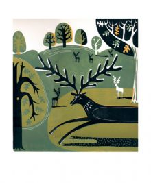 Stag in Knole Park linocut by Melvyn Evans