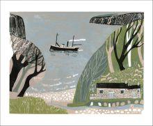 The Marine Walk Linocut by Melvyn Evans