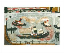 Tugboats on the Thames  Linocut by Melvyn Evans