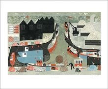 Whitstable Harbour Linocut by Melvyn Evans