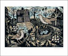 Garden Birds linocut - Mark Hearld Art Greeting Card