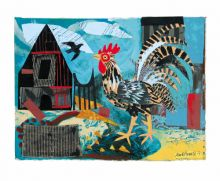 Cockerel collage by Mark Hearld Art Greeting Card