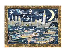 Salmon return to the Thames lithograph by Mark Hearld