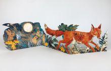 Fox collage by Mark Hearld 3D Die-Cut Cards