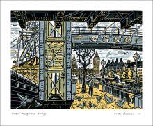 Under Hungerford Bridge linocut - Mick Armson Art Greeting Card