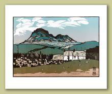 Moel y Gest from Craig Ddu Greeting Card by Ian Phillips Linocut Artist