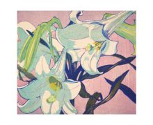 White Lillies woodcut by Mabel Royds