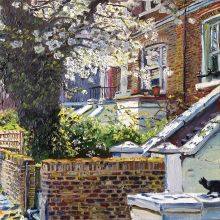 Sunlit Blossom with Cat by Melissa Scott-Miller NEAC RBA RP