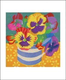 Pansies Woodblock print by Matt Underwood