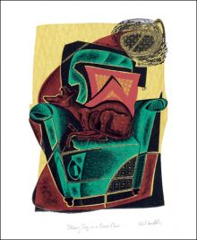 Skinny Dog on a Green Chair  Engraving by Neil Bousfield