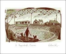 Happisburgh Caravan engraving by Neil Bousfield