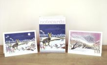 Winter Hares / Midwinter Starlings from original prints by Niki Bowers