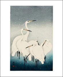 Herons In The Snow  Woodcut Print by Ohara Koson (1877 - 1945)