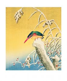 Kingfisher in the Snow woodblock by Ohara Koson
