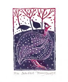 'Snowfowl' from a linocut by Penny Bhadresa