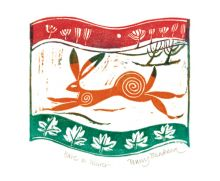 'Hare in Winter' linocut by Penny Bhadresa
