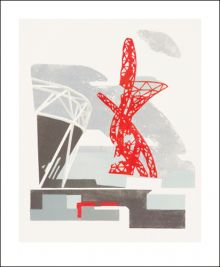 Orbit Grey Linocut by Paul Catherall Greeting Card