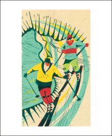 Skiers linocut by Paul Cleden