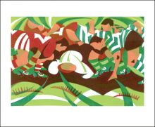 Rugby Scrum  by Paul Cleden Greeting Card