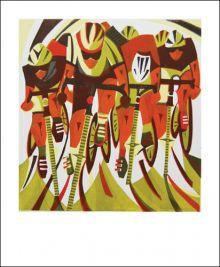 Road Race  linocut by Paul Cleden