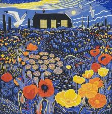 Poppies and Prospect Cottage linoprint Greeting Card by Annie Soudain