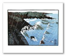 Porth Ychain Greeting Card by Ian Phillips Linocut Artist
