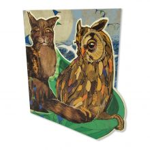 SHELLY PERKINS DIE-CUT OWL & THE PUSSYCAT GREETINGS CARD