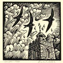Swifts by Richard Allen SWLAArt Greeting Card, Linocut