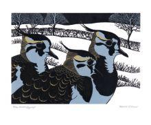 Winter Lapwings Linocut by Robert Gillmor