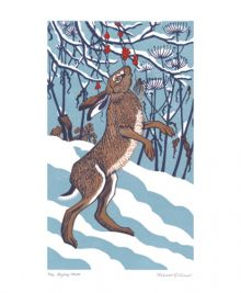Bryony Hare Linocut by Robert Gillmor