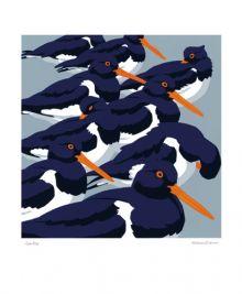 Sea-Pies Linoprint by Robert Gillmor