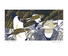 'Snow Buntings' linocut Greeting Card by Robert Gillmor