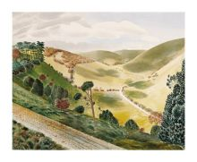 The Causeway, Wiltshire Downs, 1937  by Eric Ravilious