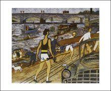 Putney Reach, 1975 Linocut by Rupert Shephard (1909 - 1992)