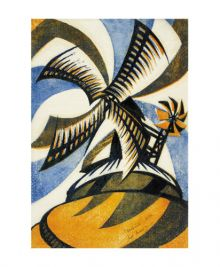 Windmil c.1933 linocut by Sybil Andrews Art Greeting Card