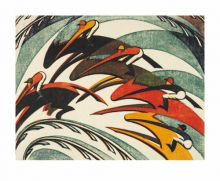 Racing c.1934 linocut by Sybil Andrews Art Greeting Card