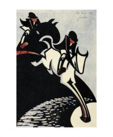 Water Jump, 1931. linocut by Sybil Andrews Art Greeting Card