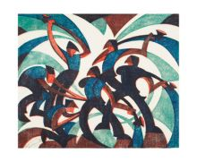 'Sledgehammers, 1933' linocut by Sybil Andrews - Art Greeting Card