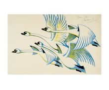 'Swans, 1939' linocut by Sybil Andrews - Art Greeting Card