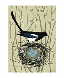Magpie's Treasure Screenprint by Sally Elford