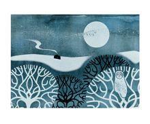 'Owl in Winter' screenprint by Sally Elford