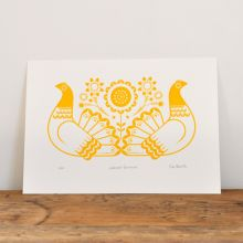 Sebright Bantams in Golden Yellow - Hand Pulled, Signed, Gocco Screen Print by Dee Beale