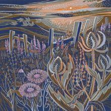 Seedheads linoprint Greeting Card by Annie Soudain