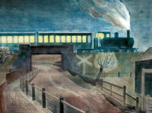ERIC RAVILIOUS Train Going Over a Bridge at Night| 1935