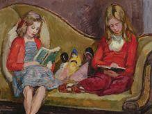 VANESSA BELL Henrietta & Amaryllis Garnett on Sickert's Sofa in Charleston Studio c.1953