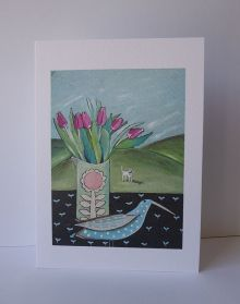 Spotted Long Beak and Tulips By Liz Toole