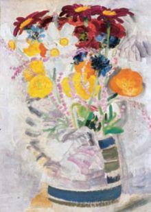 Striped Jug Of Flowers By Winifred Nicholson