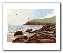 Sunshine and Seagulls GREETING CARD BY IAN PHILLIPS LINOCUT ARTIST