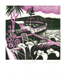 Mousehole Relief print by Sarah Young Art Greeting Card